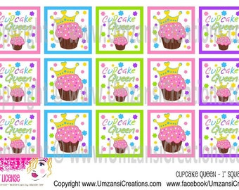 """1x1 Inch Cupcake Queen Square Digital Download for 1"""" Square (4x6)"""