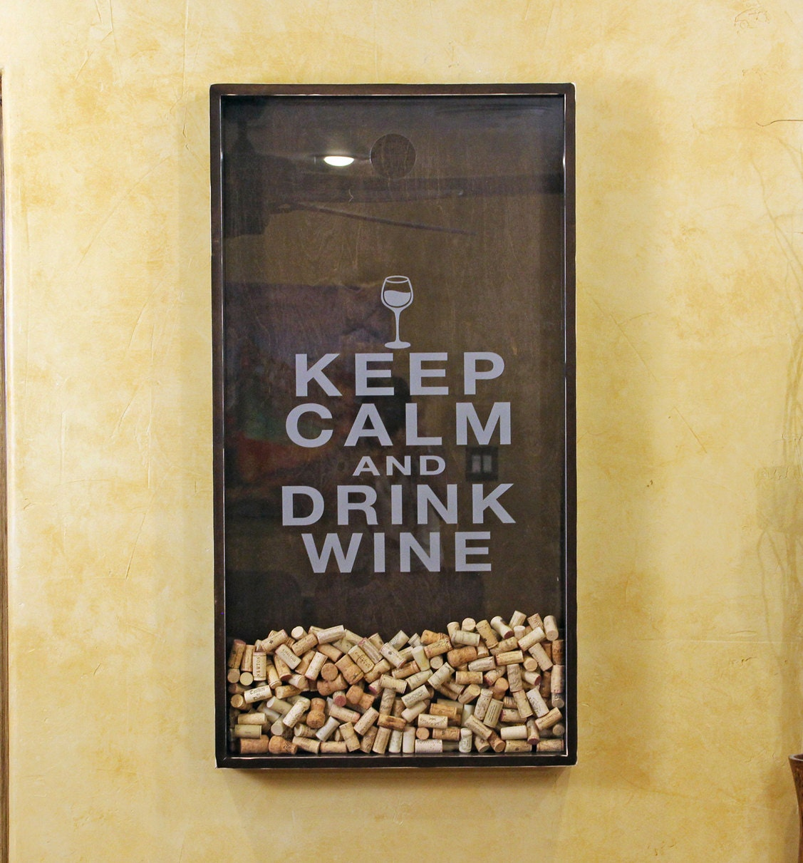 25x45 wine cork holder wall decor art keep calm for Decoration murale wall art