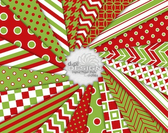 Bright Red and Green Christmas Digital Scrapbook Paper -  Modern Christmas Printable Holiday Background Images - Instant Download (DP398B)