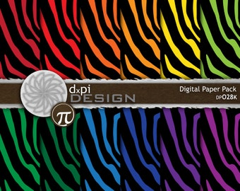 Animal Print Digital Scrapbook Paper - Zebra Backgrounds - rainbow zebra stripes in bold primary colors - Instant Download (DP028K)