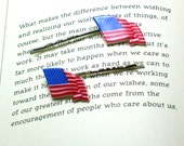 American Flag Button Hair Pins, Button Jewelry, Flag Hair Pins, America Jewelry