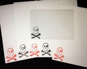 Skull and crossbones letter writing set
