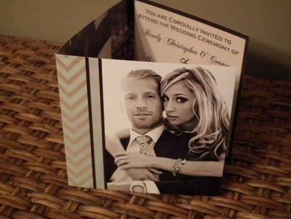 SAMPLE Modern CHEVRON AFFAIR Trifold Wedding Invitations Photo Tiffany Blue and Brown Premium Prints