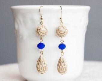 Blue Beige Floral Beaded Earrings Ivory White Bohemian Earrings Boho Chic Drop Earrings Boho Jewelry - E250