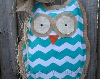 READY TO SHIP Owl Burlap Door Hanger Door Decoration Mixed Media Chevron Pattern