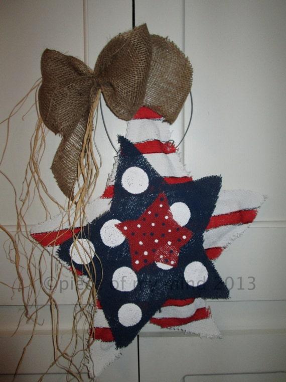Burlap Stars Red, White and Blue Burlap Door Hanger
