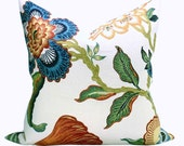 Schumacher Hothouse Flowers pillow cover in Spark - peacock blue flower