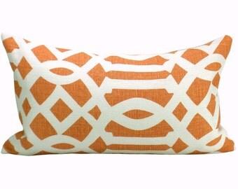 Schumacher Imperial Trellis lumbar pillow cover in Mandarin
