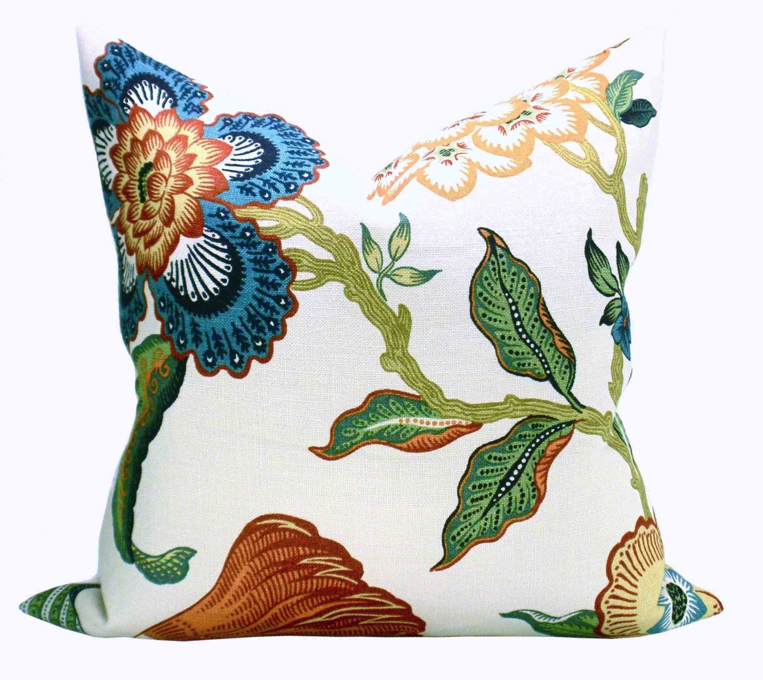 Schumacher Hothouse Flowers pillow cover in Spark peacock