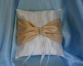 Butter Gold Ivory Square Satin Ring Bearer Pillow Bow Candlelight Pearls Pearl Wedding Bridal