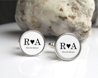 Personalized Cufflinks, Custom Heart And Date Cufflinks, Wedding Keepsake Cufflinks
