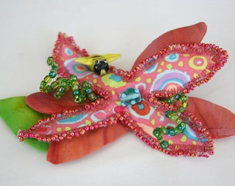 Fiber Art Brooch with Hand Beading Coral Pink Flower Green Leaves Bee