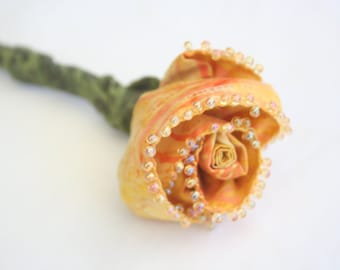 Everlasting Fabric Yellow Rose Stem for Bridal Wedding Bouquet, Eco Friendly, Fiber Art Flower, Get Well Bouquet, Fabric Flower, Centerpiece