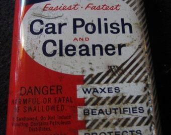 Vintage PRESTONE Car Polish Tin Union CARBIDE Eveready Batteries Cool Graphics