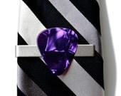 Purple Guitar Pick Tie Clip - Tie Bar - Tie Clasp - Business Gift - Handmade - Gift Box Included