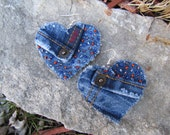 Earrings - Heart Shaped Recycled Abercrombie Denim - Big and Bold - Upcycled - Hand-Beaded