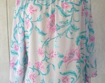 vintage 80s vera blouse vera neumann spring floral shirt top lettuce edge bell sleeves l xl flirty ladybug