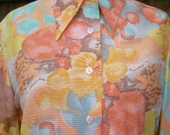vintage 70s disco secretary blouse shirt tropical water color b40 nos nwt  queen casuals