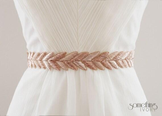 HANABI in Rose Gold - Metallic Bullion Embroidered Bridal Belt, Wedding Sash