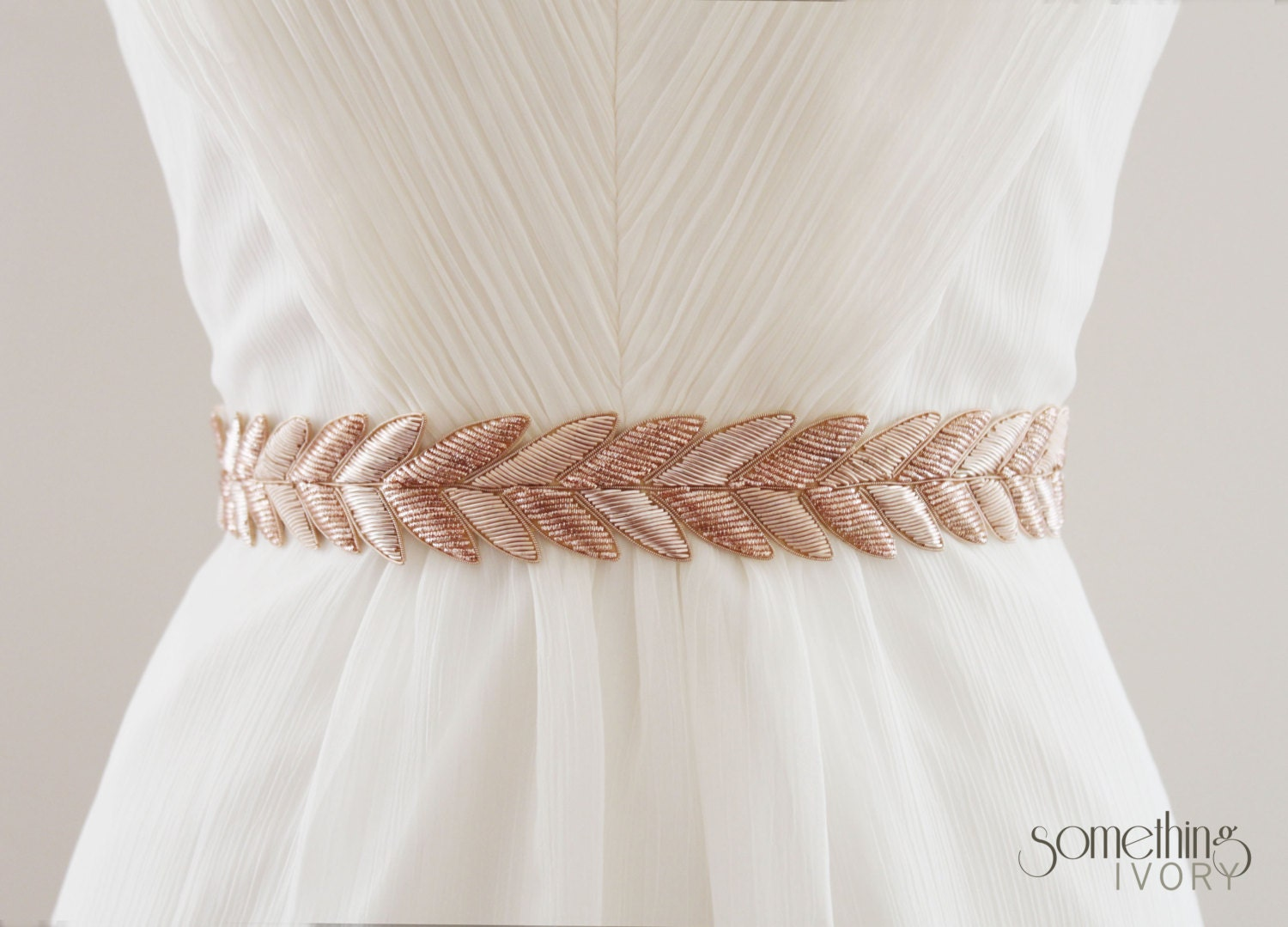 embroidered sash wedding sash HANABI in Rose Gold Metallic Bullion Embroidered Bridal Belt Wedding Sash