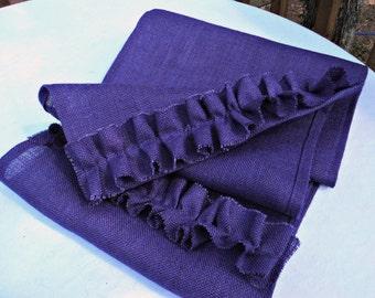 Purple Burlap Table Runner with Ruffles Custom Size Available Boho Decor Purple Dresser Scarf