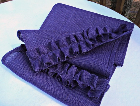 custom length  table Burlap theruffleddaisy runner Table Ruffles Purple with Runner Custom by