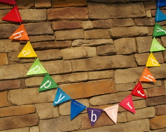 Happy Birthday Bunting on Rainbow Felt with Baker's Twine