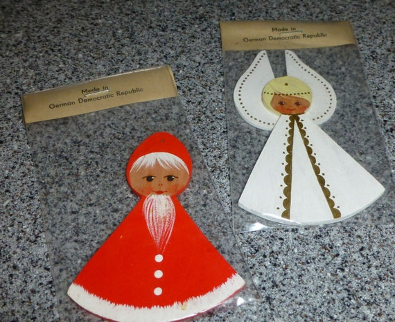 2 Wooden Ornaments from Germany 1970s