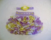 READY TO SHIP - 12 to 24 Month Size - Light Purple, Yellow and White Ballerina Ruffled Skirt and Headband - Photo Prop