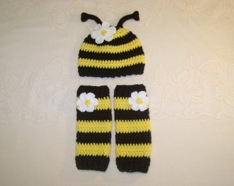 Bumble Bee Crocheted Hat & Legwarmer Set - Available in Newborn to Toddler Size - Any Color Combination