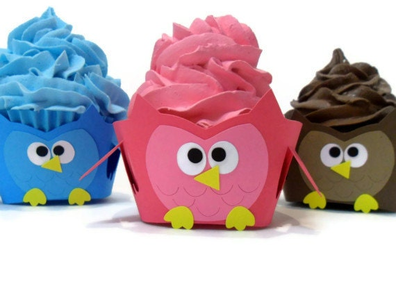 Owl Cupcake Wrappers - Set of 12