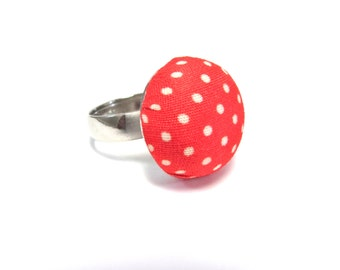 Orange / Red Polka Dot Ring - Fabric Covered Button Accessory - Preppy - Rockabilly / 1950s Jewelry