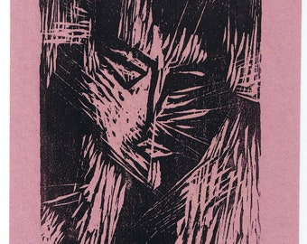 """Catwoman Woodblock Print, German Expressionist Style, 9"""" x 7"""" Signed Original Hand-pulled"""