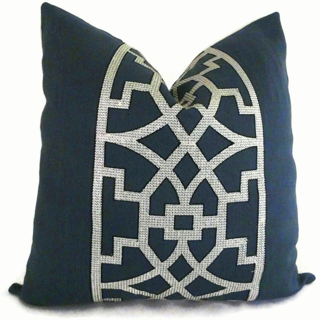 Decorative Pillows Navy : Mary McDonald Navy Blue Trellis Decorative Pillow Cover 18x18