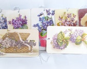 7 Handmade Violet Botanical Tags - Flowers, Bouquets