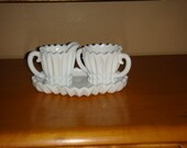 RESERVED Vintage Milk Glass Cream and Sugar Set with Tray