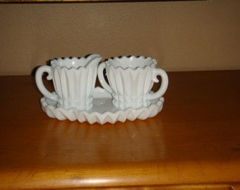 Vintage Milk Glass Cream and Sugar Set with Tray