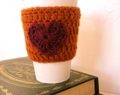 SALE Coffee Cup Sleeve Valentines Day Crochet Cup Sleeve in Pumpkin and Maroon