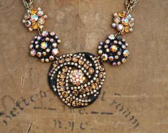 Bold Vintage Statement Necklace OoAk Elegant Sparkle Crystal Rhinestone Assemblage Sassy Sisters Jewelry
