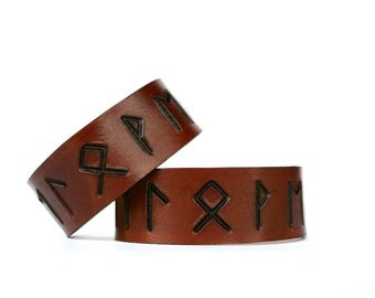 Rune Leather Cuff his & hers Beloved secret message wristband leather matching wrist cuff