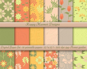 "Patterned Scrapbook Paper Digital Background Printable - 18 designs - 12"" x 12"" - 300 dpi - jpg - FLOWER GARDEN"