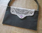 Olive clutch with vintage doily flap - Clearance sale