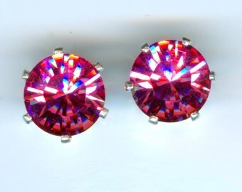 Swarovski 8mm  Pink Earrings ST