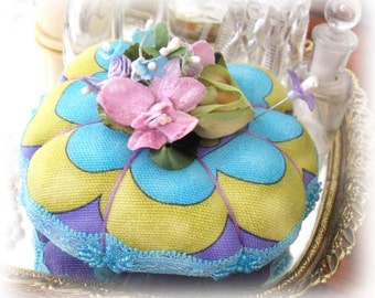 PINCUSHION Handmade Soft Sculpture TEAL, Purple, Lime,  Handcrafted CharlotteStyle Needlecraft