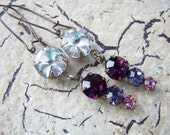 Rhinestone Earrings Pink Purple Vintage Style