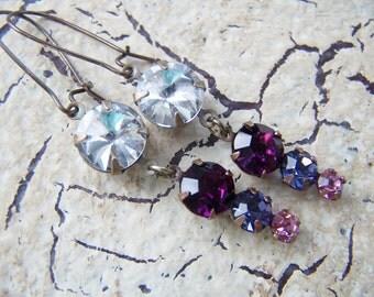 Rhinestone Earrings Pink Purple Vintage Style