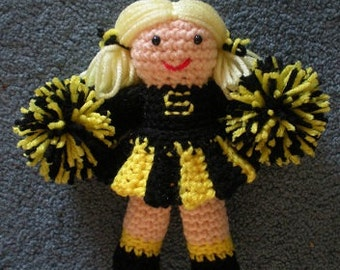 Made to order Hand Crocheted Cheerleader Doll Football, Baseball or Basketball Team Embrodered letters, colors, you choose