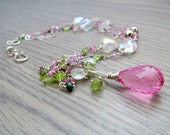 Hot Pink Topaz Necklace - Green Emerald Necklace Sterling Silver Wire Wrapped Gemstone Necklace with Pink and Green Tourmaline Cluster