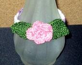 Last Rose of Summer SALE, Crocheted Rose Bracelet, Variegated Lavender Band, 8-1/4 Inches