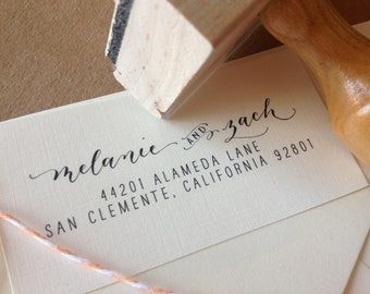 Handwritten Calligraphy Return Address Stamp Custom -- Mixed Calligraphy and type - Modèrne Style